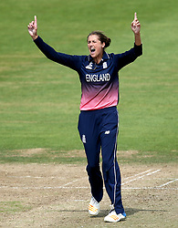 Jenny Gunn of England Women celebrates taking the wicket of Nicole Bolton of Australia Women - Mandatory by-line: Robbie Stephenson/JMP - 09/07/2017 - CRICKET - Bristol County Ground - Bristol, United Kingdom - England v Australia - ICC Women's World Cup match 19
