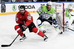 06.05.2017, AccorHotels Arena, Paris, FRA, IIHF WM 2017, Schweiz vs Slowenien, Gruppe B, im Bild Denis Hollenstein (SUI) gegen Mitja Robar (SLO) // during the group B match of 2017 IIHF World Championship between Switzerland and Slovenia at the AccorHotels Arena in Paris, France on 2017/05/06. EXPA Pictures © 2017, PhotoCredit: EXPA/ Freshfocus/ Urs Lindt<br /> <br /> *****ATTENTION - for AUT, SLO, CRO, SRB, BIH, MAZ, ITA only*****
