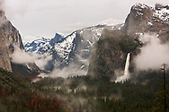 Yosemite Falls and Half Dome as seen in winter from Tunnel View in Yosemite National Park, California