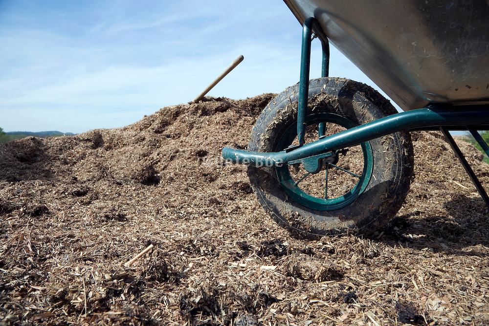wheelbarrow and shovel