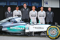 The Mercedes AMG F1 W06 is unveiled (L to R): Paddy Lowe (GBR) Mercedes AMG F1 Executive Director (Technical); Lewis Hamilton (GBR) Mercedes AMG F1; Toto Wolff (GER) Mercedes AMG F1 Shareholder and Executive Director; Nico Rosberg (GER) Mercedes AMG F1; Pascal Wehrlein (GER) Mercedes AMG F1 Reserve Driver; Andy Cowell (GBR) Mercedes-Benz High Performance Powertrains Managing Director.<br /> Formula One Testing, Day One, Sunday 1st February 2015. Jerez, Spain.