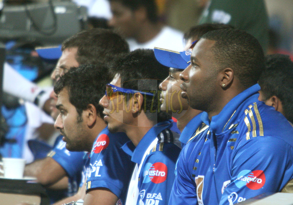 Mumbai Indian players watching the match 8 of the the Indian Premier League ( IPL ) Season 4 between the Royal Challengers Bangalore and the Mumbai Indians held at the Chinnaswamy Stadium, Bangalore, Karnataka, India on the 12th April 2011..Photo by Vino John/BCCI/SPORTZPICS  during match 8 of the the Indian Premier League ( IPL ) Season 4 between the Royal Challengers Bangalore and the Mumbai Indians held at the Chinnaswamy Stadium, Bangalore, Karnataka, India on the 12th April 2011..Photo by Vino John/BCCI/SPORTZPICS