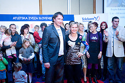 Primoz Kozmus and Brigita Bukovec at Best Slovenian athlete of the year ceremony, on November 15, 2008 in Hotel Lev, Ljubljana, Slovenia. (Photo by Vid Ponikvar / Sportida)