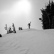 Jess McMillan hikes towards the backcountry near Jackson Hole Mountain Resort.