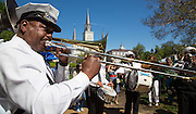 Second line parade during French Quarter Festival - Friday
