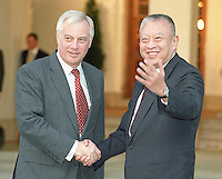 HONG KONG:  Hong Kong Governor Chris Patten (L) and Hong Kong's first Chief Executive Tung Chee Hua are shown together at Government House in June, 1997. (Photo by David Paul Morris)..