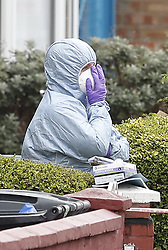 © Licensed to London News Pictures. 03/04/2018. London, UK. Police forensics attend the scene in Chalgrove Road, Tottenham, north London after a 17 year old girl was shot dead. The girl was found with a bullet wound and pronounced dead at the scene at 21:43 last night. Police were also called to another shooting and stabbing incident in Walthamstow. Photo credit: Peter Macdiarmid/LNP