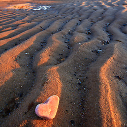 Heart-shaped quartz on the beach. Great Island Trail, Wellfleet, Massachusetts. Cape Cod National Seashore.