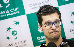 Miha Mlakar of Slovenia at press conference after  the Day 2 of Davis Cup 2018 Europe/Africa zone Group II between Slovenia and Poland, on February 4, 2018 in Arena Lukna, Maribor, Slovenia. Photo by Vid Ponikvar / Sportida