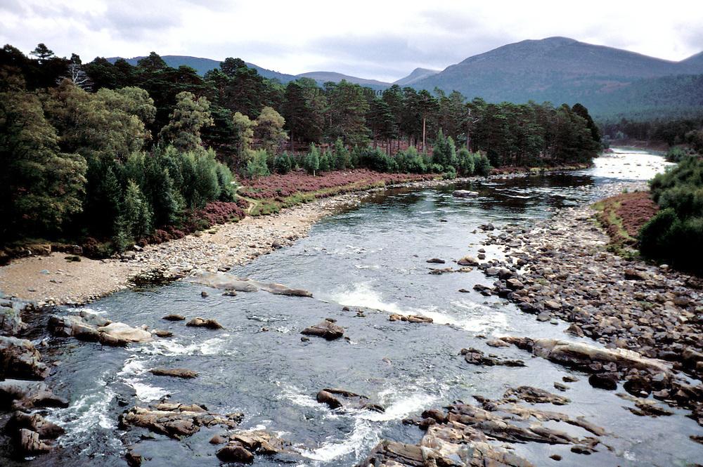 River Dee, Scotland, landscape view eastward from a bridge near Balmoral in Aberdeenshire.