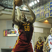 Canton Charge Center Arinze Onuaku (50) is fouled by Delaware 87ers Center Kyrylo Fesenko (34) in the first half of a NBA D-league regular season basketball game between the Delaware 87ers (76ers) and The Canton Charge (Cleveland Cavaliers) Friday, Jan 24, 2014 at The Bob Carpenter Sports Convocation Center, Newark, DEL.