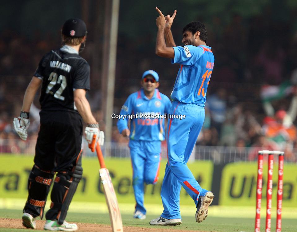Indian bowler Munaf Patel celebrates New Zealand Batsman Kane Williamson during the 3rd ODI India vs New Zealand Played at Reliance Stadium, Vadodara, 4 December 2010 (50-over match)