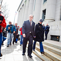 Tim DeChristopher entering the Federal Courthouse in downtown Salt Lake City.  Tim DeChristopher is facing ten years in prison on two felony charges for derailing an illegal sale of public land from the outgoing Bush administration to private oil and gas developers.