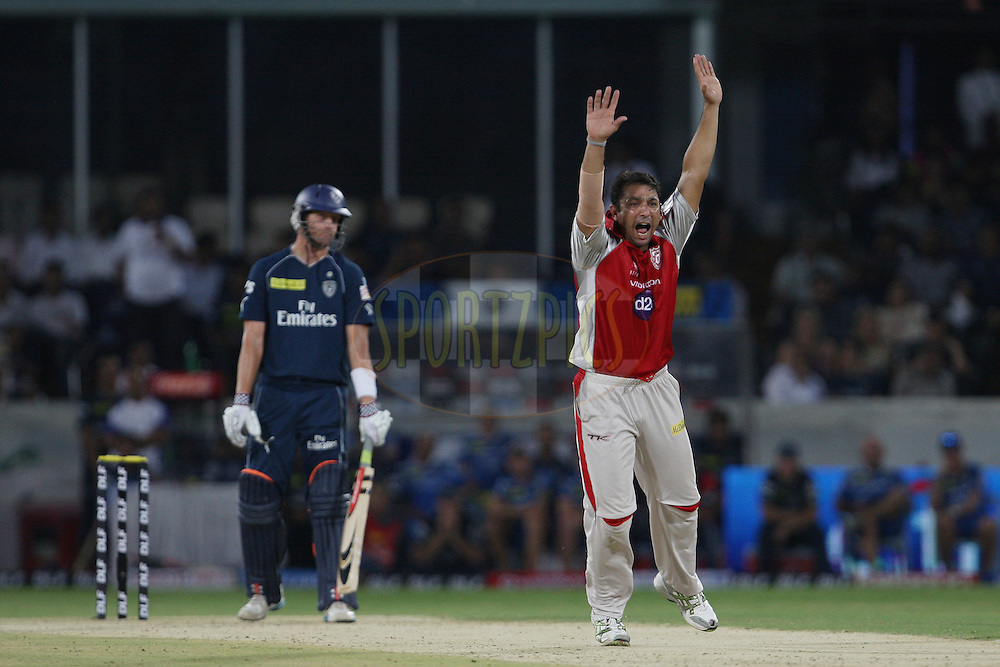 Azhar Mahmood appeals for LBW on Cameron White during match 53 of the the Indian Premier League ( IPL) 2012  between The Deccan Chargers and the Kings XI Punjab held at the Rajiv Gandhi Cricket Stadium, Hyderabad on the 8th May 2012..Photo by Jacques Rossouw/IPL/SPORTZPICS