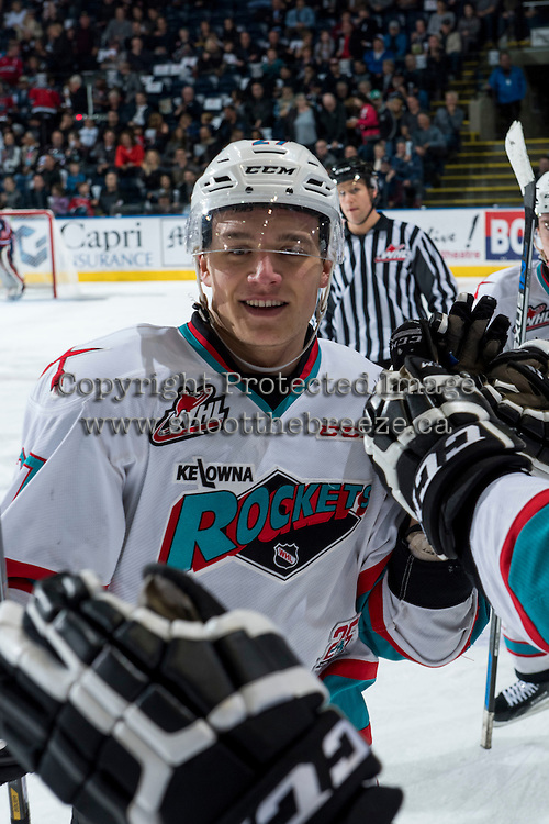 KELOWNA, CANADA - MARCH 25: Calvin Thurkauf #27 of Kelowna Rockets celebrates a goal against the Kamloops Blazers on March 25, 2016 at Prospera Place in Kelowna, British Columbia, Canada.  (Photo by Marissa Baecker/Shoot the Breeze)  *** Local Caption *** Calvin Thurkauf;