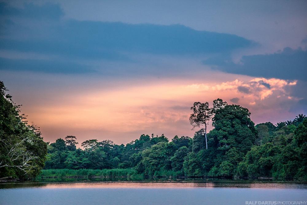 Sunset at the lower Kinabatangan in Sabah, Borneo (Malaysia)