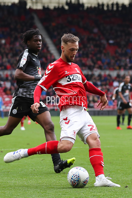Middlesbrough midfielder Lewis Wing (26) in action during the EFL Sky Bet Championship match between Middlesbrough and Reading at the Riverside Stadium, Middlesbrough, England on 27 April 2019.