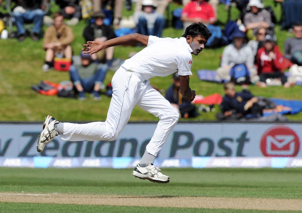 Sri Lanka's Dushmantha Chameera bowls against New Zealand on day four of the first International Cricket Test, University Cricket Oval, Dunedin, New Zealand, Sunday, December 13, 2015. Credit:SNPA / Ross Setford