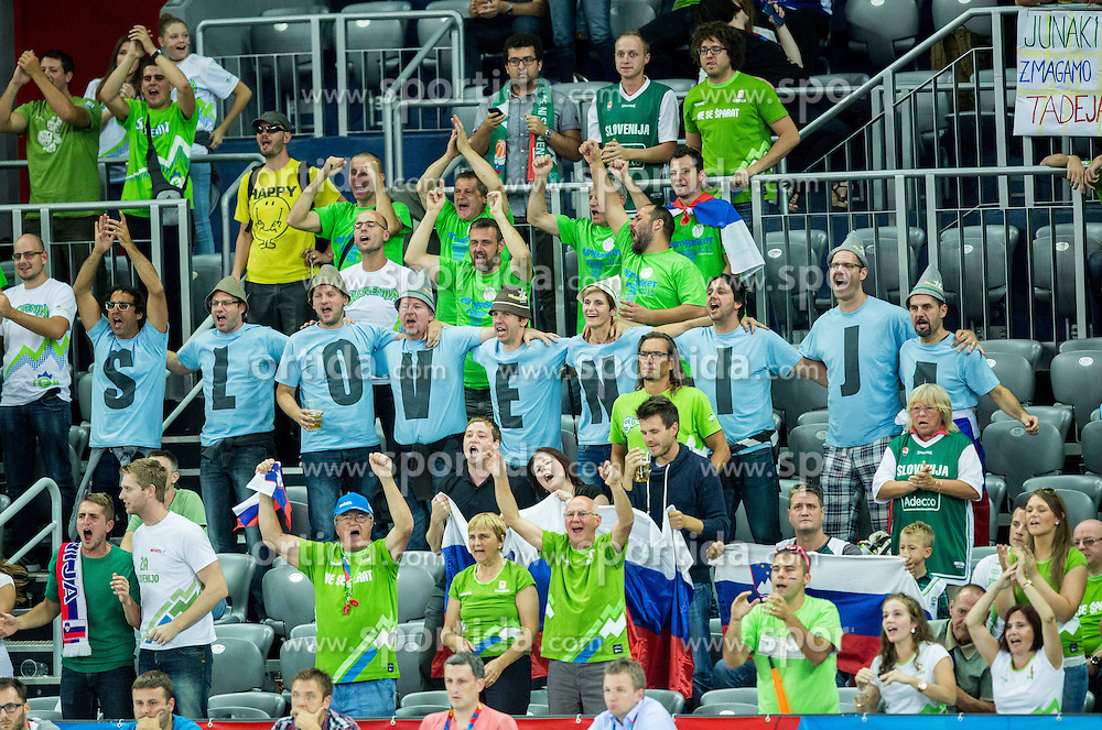 Supporters of Slovenia during basketball match between Slovenia vs Greece at Day 5 in Group C of FIBA Europe Eurobasket 2015, on September 9, 2015, in Arena Zagreb, Croatia. Photo by Vid Ponikvar / Sportida