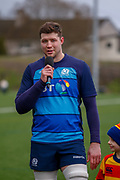 Scottish Rugby Forward Grant Gilchrist during the training session and press conference for Scotland Rugby at Clydebank Community Sports Hub, Clydebank, Scotland on 13 February 2019.
