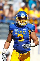 September 24, 2011; San Jose, CA, USA; San Jose State Spartans linebacker Pompey Festejo (3) before a play against the New Mexico State Aggies during the third quarter at Spartan Stadium. San Jose State defeated New Mexico State 34-24.