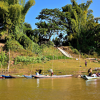 Small Community on Mekong Riverbank in Luang Prabang, Laos<br />