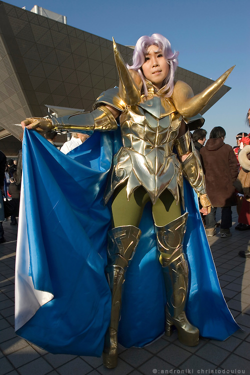 """Cosplayer dressed as """"Aries"""", character from the action game """"SAINT SEIYA"""".  TOKYO COMIC MARKET """"COMIKET"""" the biggest comic market in Japan. Independent designers come to sell their comics, there is anime, manga, cosplay, toys, posters etc. At """"Tokyo Big Sight"""" exhibition center."""