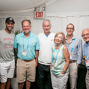 August 25, 2016, New Haven, Connecticut: <br /> James Blake and John McEnroe visit guests in the sponsor suites during the Men's Legends Event during Day 7 of the 2016 Connecticut Open at the Yale University Tennis Center on Thursday, August  25, 2016 in New Haven, Connecticut. <br /> (Photo by Billie Weiss/Connecticut Open)