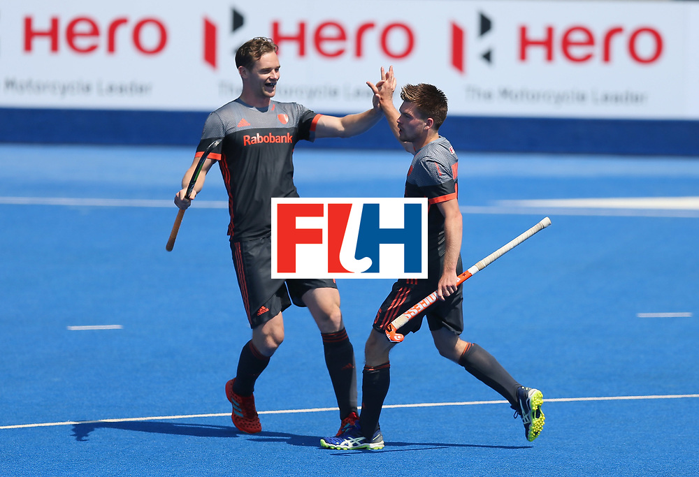 LONDON, ENGLAND - JUNE 20:  Thierry Brinkman of the Netherlands (R) celebrates scoring their first goal during the Pool B match between India and the Netherlands on day six of the Hero Hockey World League Semi-Final at Lee Valley Hockey and Tennis Centre on June 20, 2017 in London, England.  (Photo by Alex Morton/Getty Images)