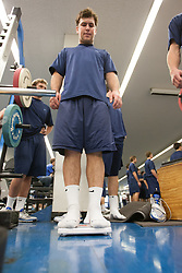 27 November 2007: North Carolina Tar Heels men's lacrosse Bart Wagner during a weight lifting session in Chapel Hill, NC.