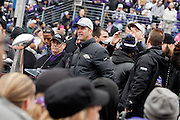 Baltimore Ravens coach John Harbaugh addresses the capacity crowd during the teams Super Bowl XLVII Celebration at M&T Bank Stadium on Tuesday, February 5, 2013 in Baltimore, MD.