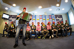 Athlete Simon Kocevar playing Harmonika during press conference of Slovenian biathlon team for season 2012/13 on November 19, 2012 in Rudno polje, Pokljuka, Slovenia. (Photo By Vid Ponikvar / Sportida)