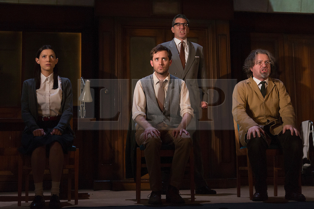 "© Licensed to London News Pictures. 08/05/2014. London, England. L-R: Hara Yannas as Julia, Sam Crane as Winston; Tim Dutton as O'Brien and Stephen Fewell as Charrington. The Play ""1984"" by George Orwell transfers to the Playhouse Theatre until 19 July 2014. A new adaptation for the stage by Robert Icke and Duncan MacMillan. With Sam Crane as Winston Smith. Photo credit: Bettina Strenske/LNP"
