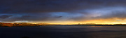 Stormy sunset panoramic picture over Lake Tahoe looking south from Kings Beach area. This is an ultra high resolution photograph composed of 7 vertical images stitched together for maximum resolution,