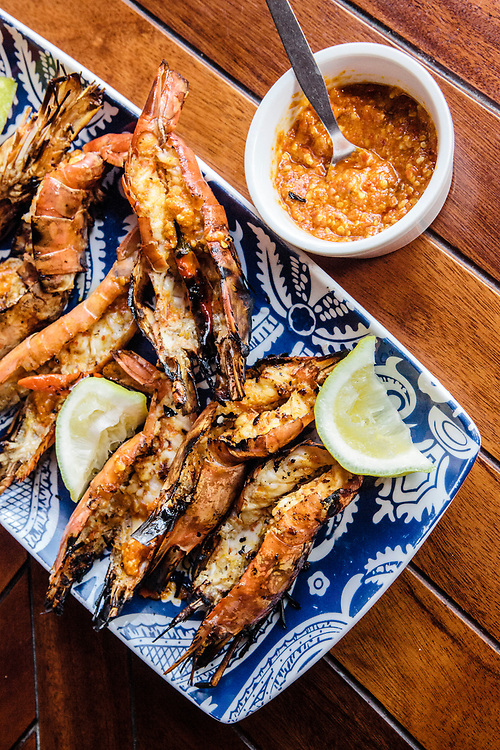 Pir-piri prawns at Anantara Bazaruto Island Resort