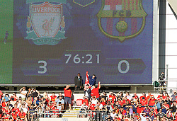 """LONDON, ENGLAND - Saturday, August 6, 2016: A steward stops Liverpool supporters unfurling a banner during the International Champions Cup match against FC Barcelona at Wembley Stadium. """"There are things I'll remember all my life"""" (Pic by David Rawcliffe/Propaganda)"""