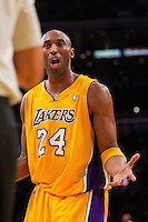 25 February 2011: Guard Kobe Bryant of the Los Angeles Lakers argues a call with the NBA Official while playing against the Los Angeles Clippers during the first half of the Lakers 108-95 victory over the Clippers at the STAPLES Center in Los Angeles, CA.