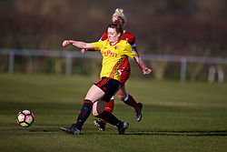 LIVERPOOL, ENGLAND - Sunday, February 4, 2018: Watford's Leah Cudone during the Women's FA Cup 4th Round match between Liverpool FC Ladies and Watford FC Ladies at Walton Hall Park. (Pic by David Rawcliffe/Propaganda)