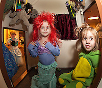 """Ariel the Mermaid"" Layne O'Connor and Morgan Eastman dressed as a frog enjoy Gilford Library's annual Halloween Parade and Party on Wednesday morning.  (Karen Bobotas/for the Laconia Daily Sun)"