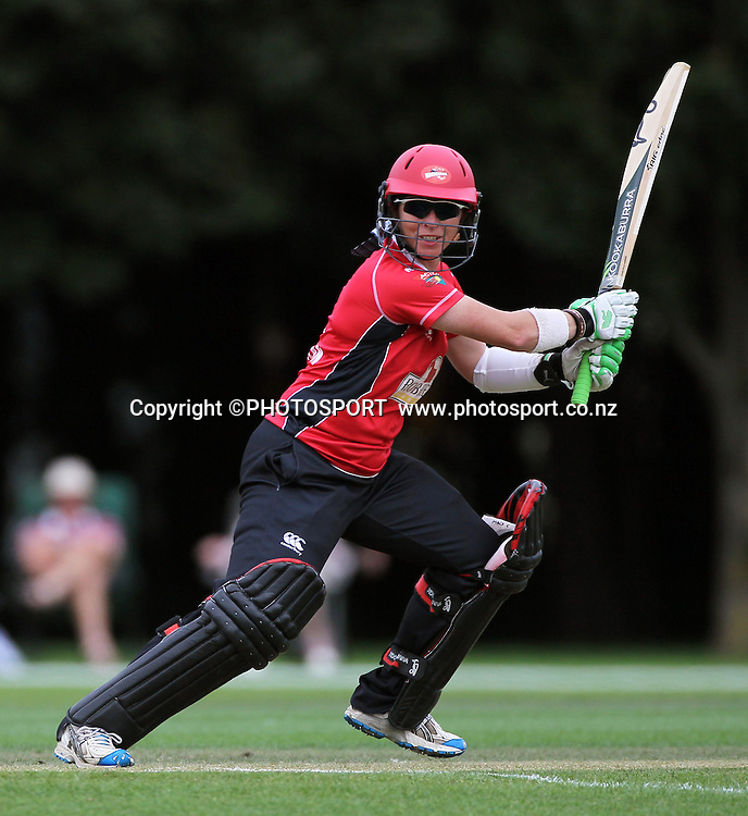 Mandie Goldiman batting for Canterbury. Canterbury Magicians v Wellington Blaze. Action Cricket Twenty20, womens cricket match, Lincoln No. 3, Lincoln University, Thursday 29 December 2011. Photo : Joseph Johnson / photosport.co.nz