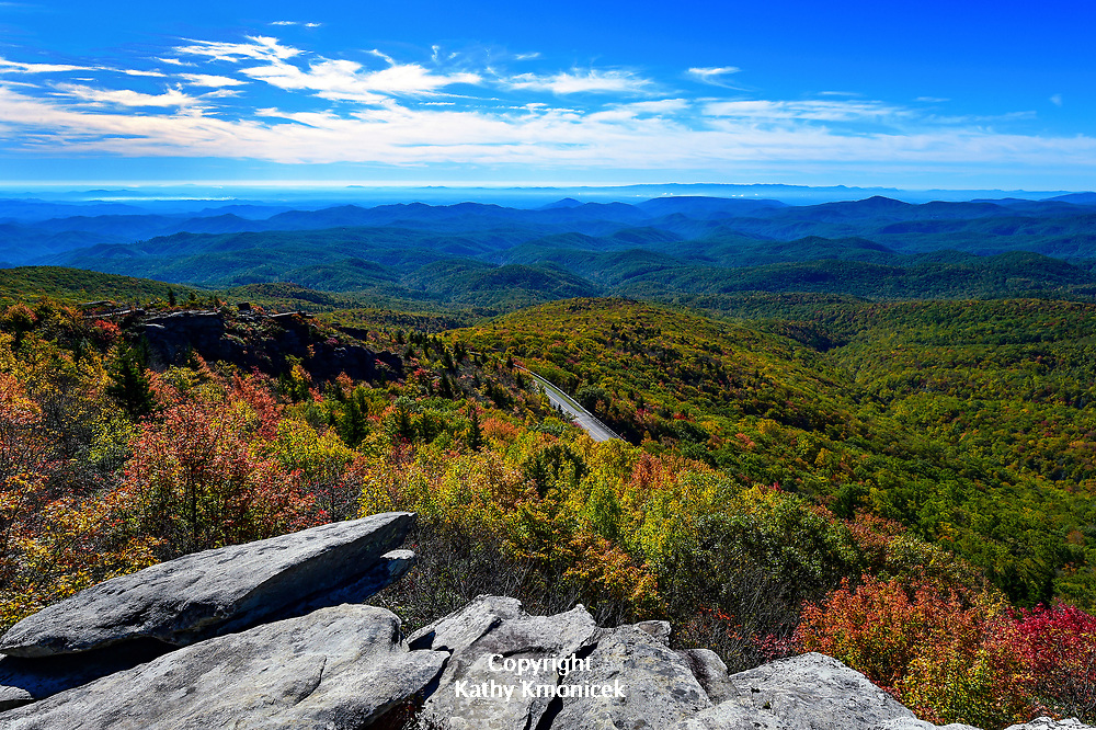 View of the Blue Ridge Parkway and the Blue Ridge Mountains from the Rough Ridge Trail, part of both the Tanawha Trail and the Mountain to Sea Trail in the Pisgah National Forest, Oct. 19, 2017 in Linville, N.C. <br />