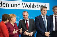 DEU, Deutschland, Germany, Berlin, 25.03.2019: V.l.n.r. CDU-Chefin Annegret Kramp-Karrenbauer, Bundeskanzlerin Dr. Angela Merkel (CDU), EVP-Spitzenkandidat Manfred Weber (CSU), Bayerns Ministerpräsident und CSU-Chef Markus Söder (CSU), vor der gemeinsamen Sitzung des Bundesvorstandes der CDU  und des Vorstandes der CSU in der Station Berlin.