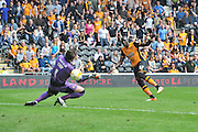Hull City midfielder Mohammed Diame (17) scores goal to go 4-1 up during the Sky Bet Championship match between Hull City and Rotherham United at the KC Stadium, Kingston upon Hull, England on 7 May 2016. Photo by Ian Lyall.