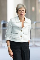 © Licensed to London News Pictures. 15/07/2018. London, UK. British Prime Minister Theresa May arriving at BBC Broadcasting House to appear on The Andrew Marr Show this morning. Earlier this week May held talks with the President of the United States, Donald Trump, on his visit to the UK. Photo credit : Tom Nicholson/LNP