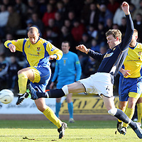 Dundee v St Johnstone....01.03.08 <br /> Paul Sheerin battles with Kevin McDonald<br /> Picture by Graeme Hart.<br /> Copyright Perthshire Picture Agency<br /> Tel: 01738 623350  Mobile: 07990 594431