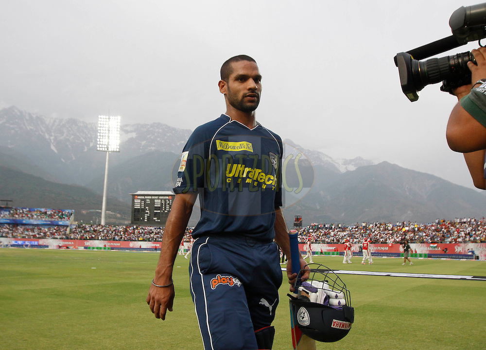 Deccan Chargers player Shikhar Dhawan not out walks back during match 67 of the Indian Premier League ( IPL ) Season 4 between the Kings XI Punjab and the Deccan Chargers held at the The HPCA Stadium in Dharamsala, Himachal Pradesh, India on the 21st May 2011..Photo by Pankaj Nangia/BCCI/SPORTZPICS