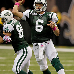 2009 October 04: New York Jets quarterback Mark Sanchez (6) throws a pass during a 24-10 win by the New Orleans Saints over the New York Jets at the Louisiana Superdome in New Orleans, Louisiana.