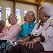 WASHINGTON, DC - MAR09:  (L-R) Ruth Hammett, Gladys Butler, Bernice Underwood, and Leona Barnes, who will all turn 100 this year, laugh as they reminisce during an interview, at Zion Baptist Church, March 9, 2016, in Washington, DC. These four women have been friends since they grew up together in southwest DC before the area was destroyed under eminent domain. (Photo by Evelyn Hockstein/For The Washington Post)