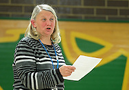 CREA president Sue Clapp talks at an Association Representation Assembly by the Cedar Rapids Education Association at Kennedy High School in Cedar Rapids on Wednesday evening, November 14, 2012.