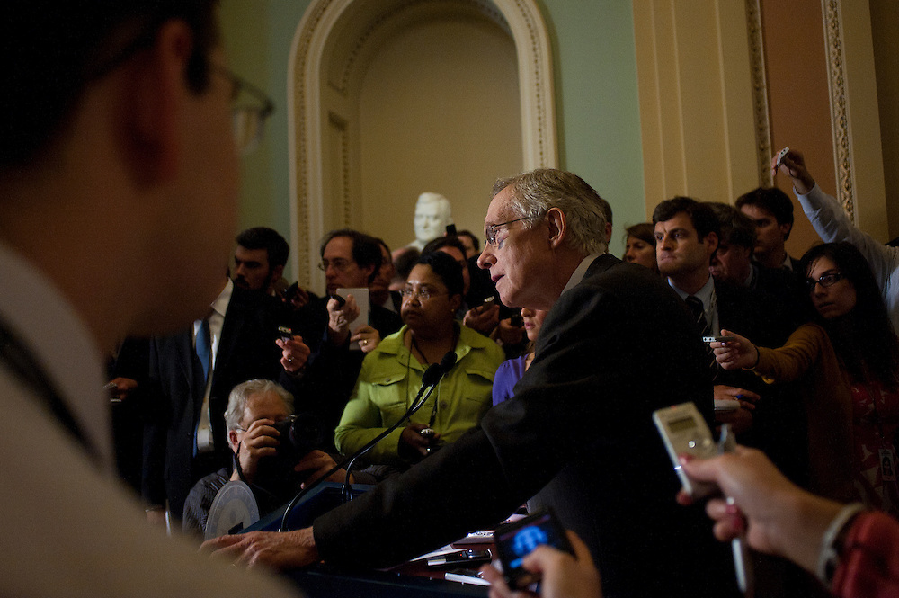 Senate Majority Leader HARRY REID (D-NV) speaks to the media Tuesday about the upcoming vote on legislation to end taxpayer subsidies for big oil companies.